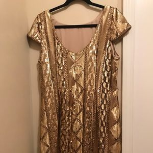 Gold sequined Adrianna Papell dress Sz 14 women's